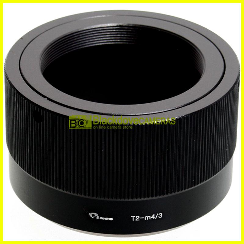 Adattatore per obiettivi a vite T2 su fotocamere Micro 4/3. Anello adapter MFT.
