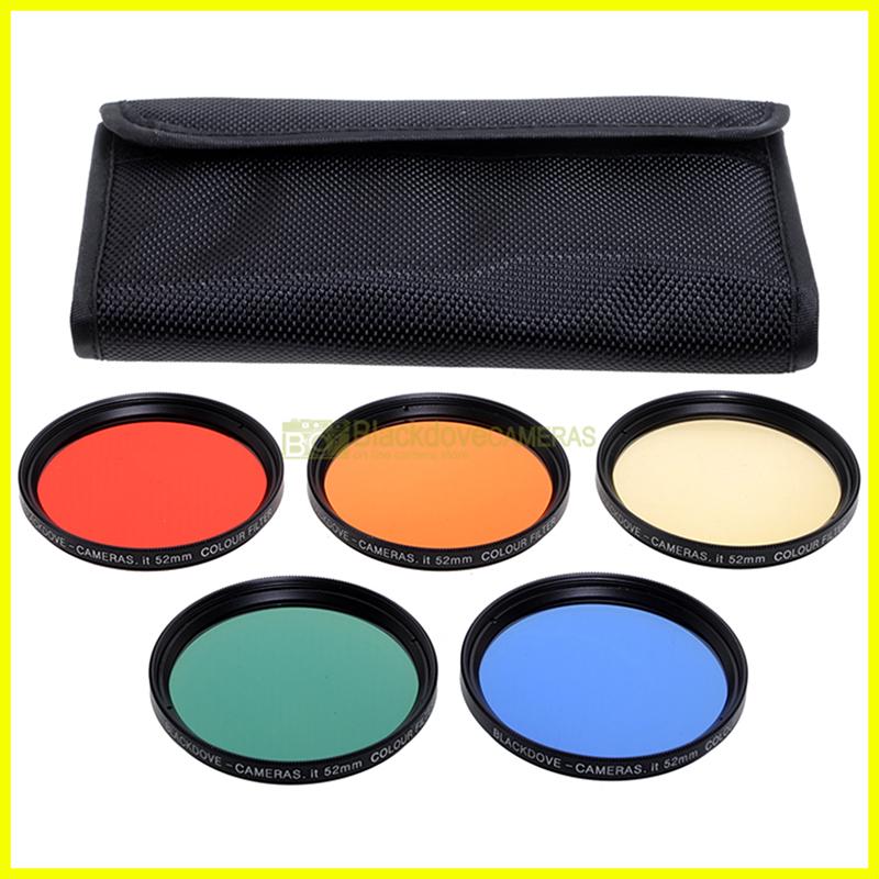 52mm kit 5 filtri colorati Blackdove-cameras. Rosso Arancione Giallo Verde Blu.