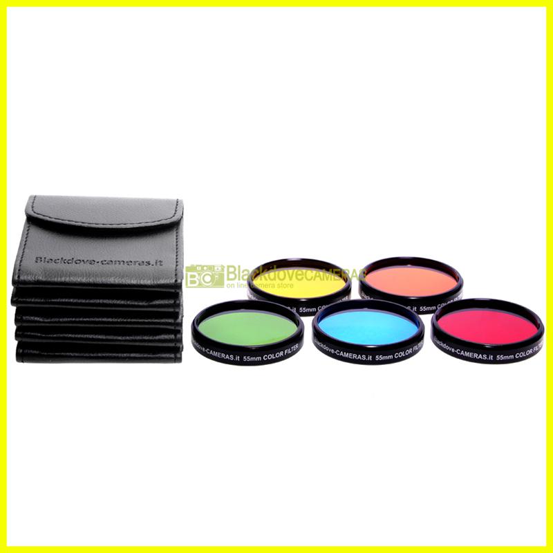 82mm kit 5 filtri colorati Blackdove-cameras. Rosso Arancione Giallo Verde Blu.