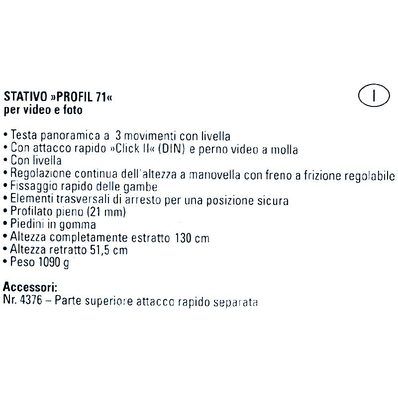 Treppiede Hama Profil 71. Cavalletto per fotocamere e videocamere cm. 51,5 - 130