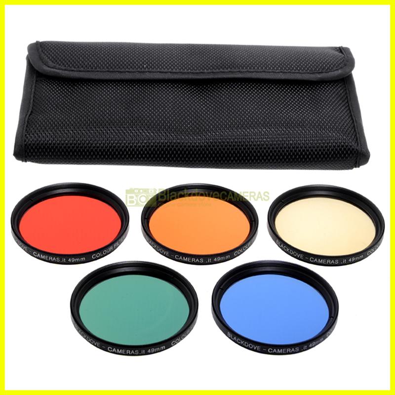 49mm kit 5 filtri colorati Blackdove-cameras. Rosso Arancione Giallo Verde Blu.