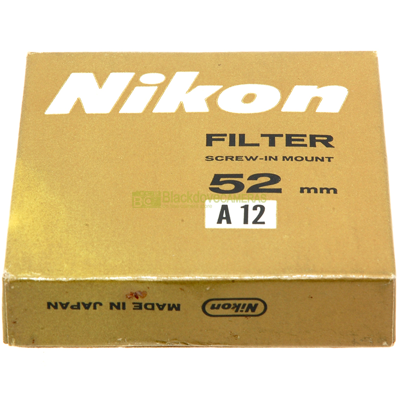 52mm Filtro arancio A12 Nikon Nippon Kogaku Nikkor a vite M52 Orange lens filter