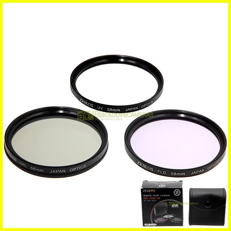 58mm. Kit 3 filtri Zeikos per obiettivi innesto M58: Polarizzatore, UV, FLD