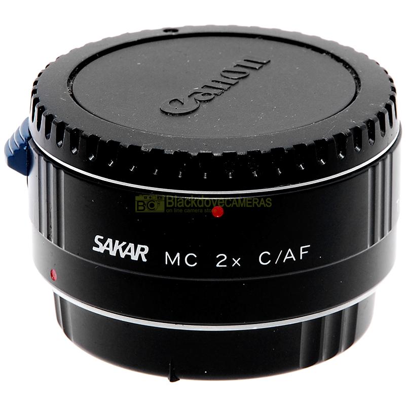 Moltiplicatore di focale 2x Sakar per obiettivi Canon EOS EF. Duplicatore.