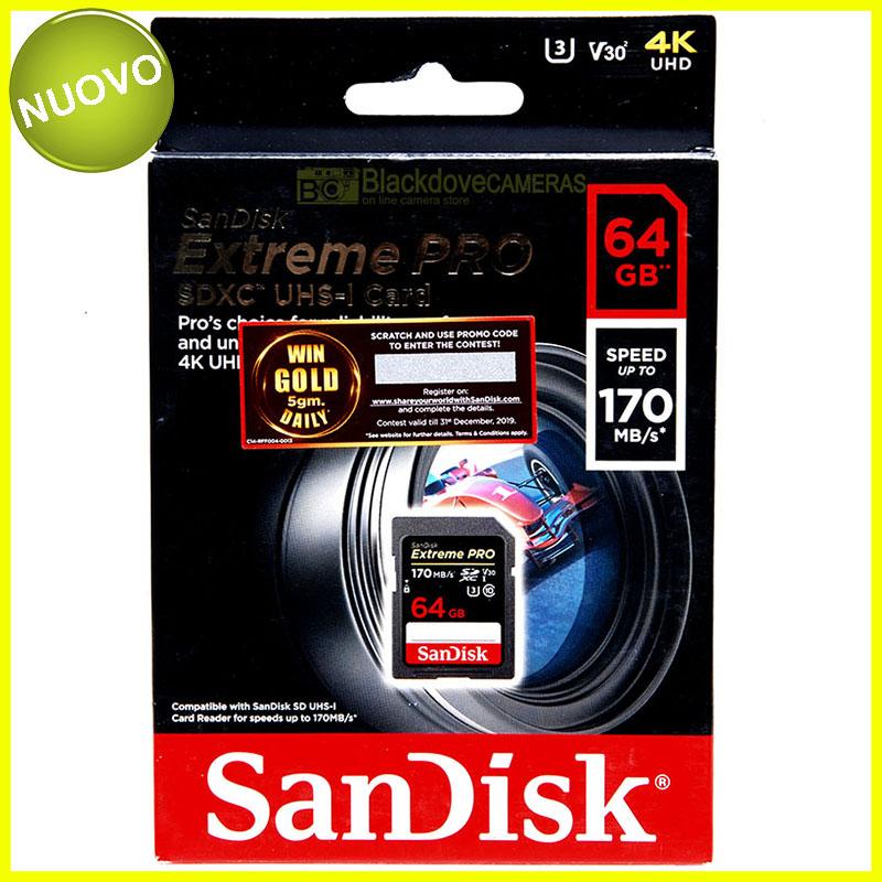 Sandisk Extreme Pro SDXC UHS-1 card 64Gb 170Mb/s. Scheda di memoria SD. 4k UHD