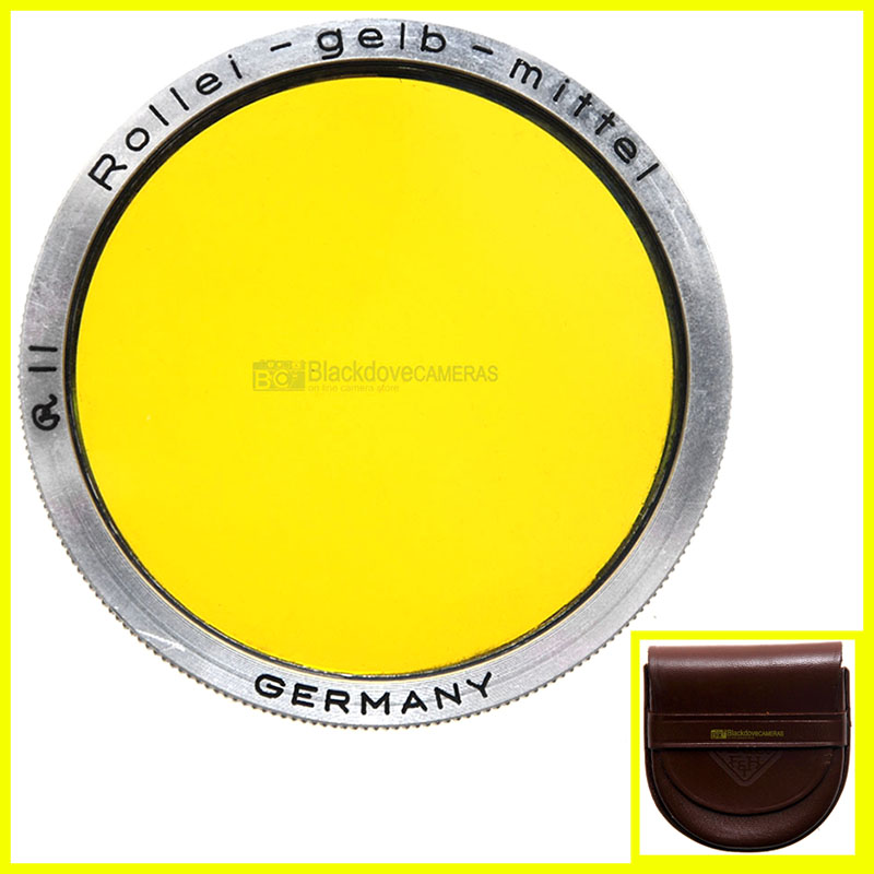 Filtro giallo Rollei Gelb Mittel R2 per biottica Rolleiflex yellow filter bay II