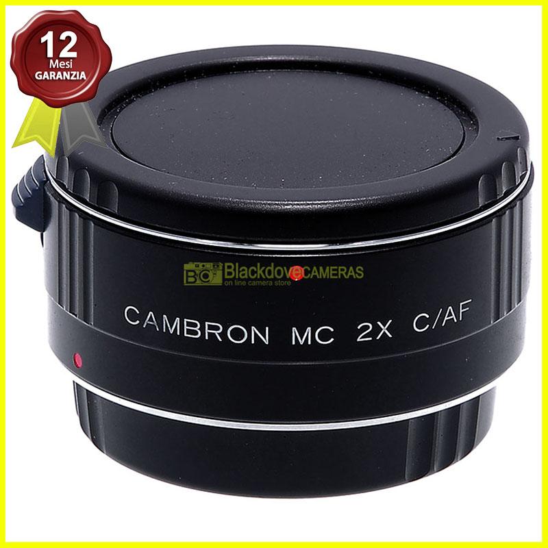 Moltiplicatore di focale 2x Cambron per obiettivi Canon EOS EF. Duplicatore.
